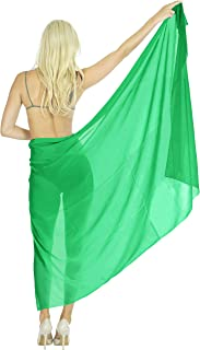 LA LEELA Women Plus Size Beach Sarong Cover Up Swimwear Wrap Pareo Solid Plain B