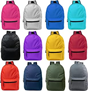 24 Pack - 19 Inch Basic Wholesale Backpacks in Assorted Colors - Bulk Case of Bookbags