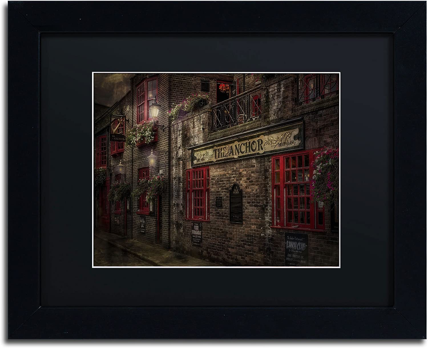Trademark Fine Art The Old Anchor Pub Canvas Artwork by Erik Brede, 11 by 14Inch, Black Matte with Black Frame