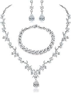 Jewelry Set for Women, Necklace Dangle Earrings Bracelet...