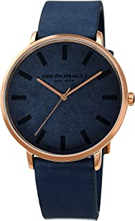 Bruno Magli Men's Roma Swiss Quartz Unique Blue Italian Leather Dial Strap Watch