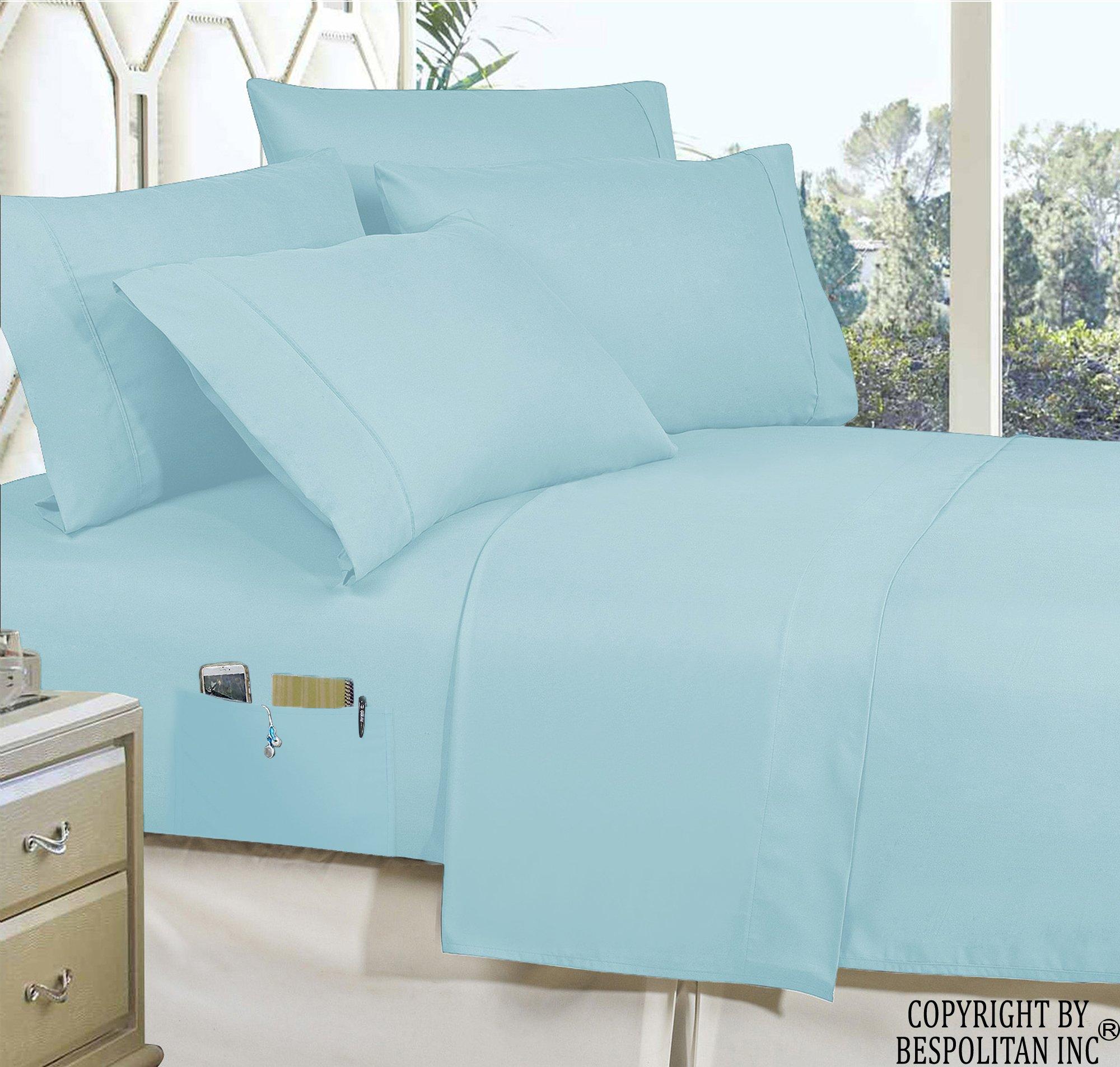 Elegant Comfort 4 件套床上用品智能床单套装! 奢华柔软 1500 支埃及优质防皱侧储物口袋,单人床,双人床,大号双人床,加州大号双人床,加州大号双人床 浅蓝色 Queen SmartSheet-Queen Aqua