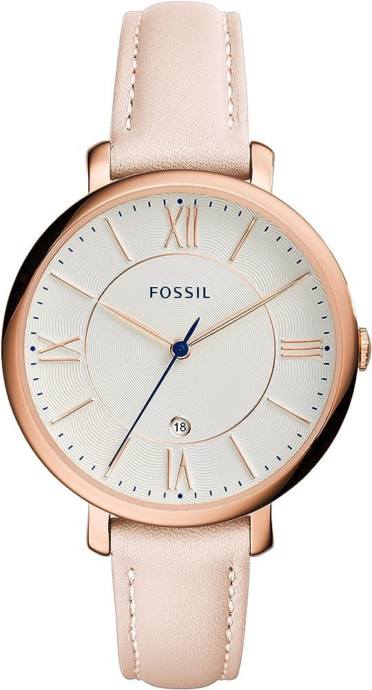 Fossil, orologio da donna,in acciaio inossidabile e cinturino in vera pelle ES3988