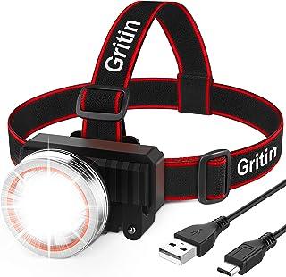 Gritin LED-pannlampa, USB-laddningsbar Pannlampa Strålkastare - Superljus 2000 Lumen, Rörelsesensor, 90° Justerbar Roteran...