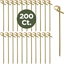 Prexware 200 Bamboo Knot Skewers, 4 Inch Knotted Skewers. Twisted Ends Bamboo Skewers Cocktail Picks.