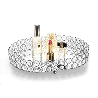 Feyarl Mirrored Crystal Vanity Makeup Tray Ornate Jewelry Trinket Tray Organizer Cosmetic Perfume Bottle Tray Decorative Tray Home Deco Dresser Skin Care Tray Storage (Oval 12