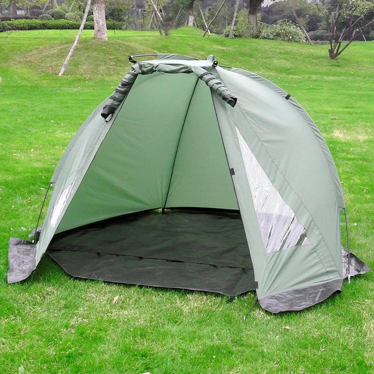 Carp Fishing Bivvy Tent Shelter   12 Man Quick Erect Lightweight Waterproof Day Shelter   Includes Groundsheet & Carry Bag   M&W
