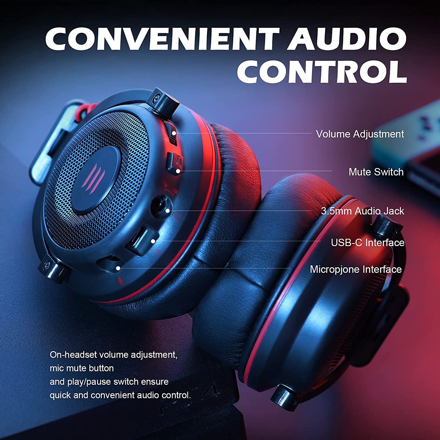 EKSA E900 USB Gaming Headset for PC - PS4 Headset with Detachable Noise Cancelling Microphone - 7.1 Surround Sound - Gaming Wired Headphones Compatible with PS4, PS5, PC, Xbox One, Computer, Laptop