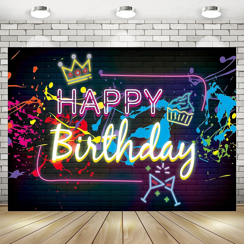 Imirell Happy free Birthday Neon Colourful 5Wx3H Fabric Feet Fashion Backdrop