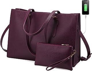 کیف لپ تاپ LOVEVOOK برای زنان ، کیف دستی کیف دستی بزرگ ، کیف دستی چرمی ، کیف حرفه ای مشاغل تجاری برای دفتر خانم ، 15.6 اینچ ، آلو عمیق