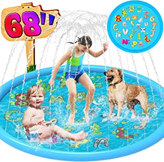 Ravmix Splash Pad for Toddlers Baby, Sprinkler for Kids Outdoor Water Toys, Dog Splash Pad, 68'' Big Inflatable Sprinkler Pad Splash Play Mat for Yard, Outside Sprinkler Splash Mat for Boys Girls