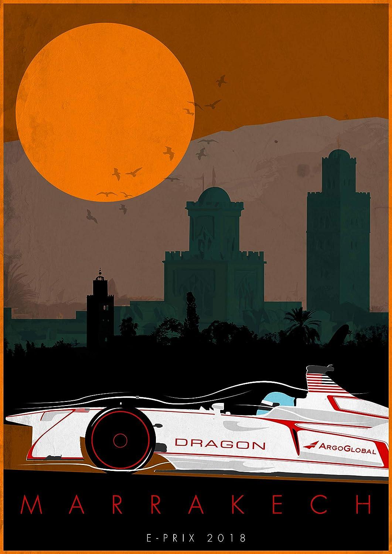Black Creations Dragon Marrakech 2 Formula E Poster Canvas Picture Art Print Premium Quality A0 A1 A2 A3 A4 (A0 Canvas (30 40))