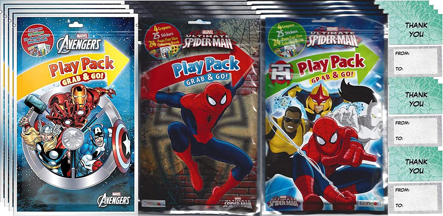 Bendon Avengers, Spider-Man Bundle Grab n Go Play Pack (12 Play Packs) Party Favors and 12  Thank You Cards
