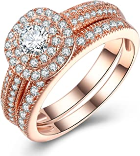 Vibrille Sterling Silver and Rose Gold Tone Vintage Multi-Row Engagement Wedding Band Ring Sets for Women