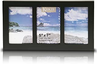 Klikel 3 Photo Collage Solid Black Wood Picture Frame - 3 Opening 5 X 7 Picture Slots