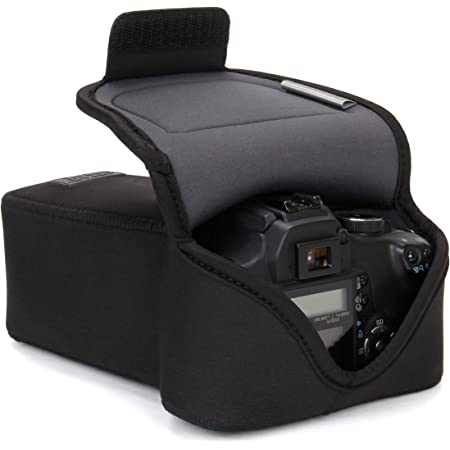 USA GEAR DSLR Camera Case and Zoom Lens Camera Sleeve (Black) with Neoprene Protection, Holster Belt Loop and Accessory Storage - Compatible with Canon, Nikon, Sony, Olympus, Pentax and More