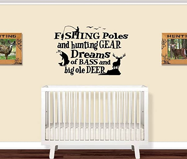 Fishing Poles And Hunting Gear Little Boys Room WALL DECAL 20 X 30
