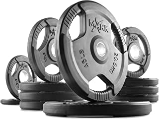 XMark Bumper Plate, Olympic Plates, Pairs and Sets, Olympic Weight Plates, Rubber Coated Olympic Weight Plate Set, Bumper Plates, Olympic Barbell Weight Set for Home