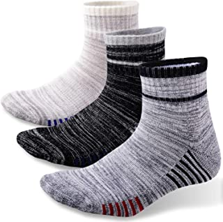 FEIDEER Men's Hiking Crew Socks, Moisture Wicking Cushion Performance Athletic Socks for Men, 3-Pack, Mid-Weight, All-Season