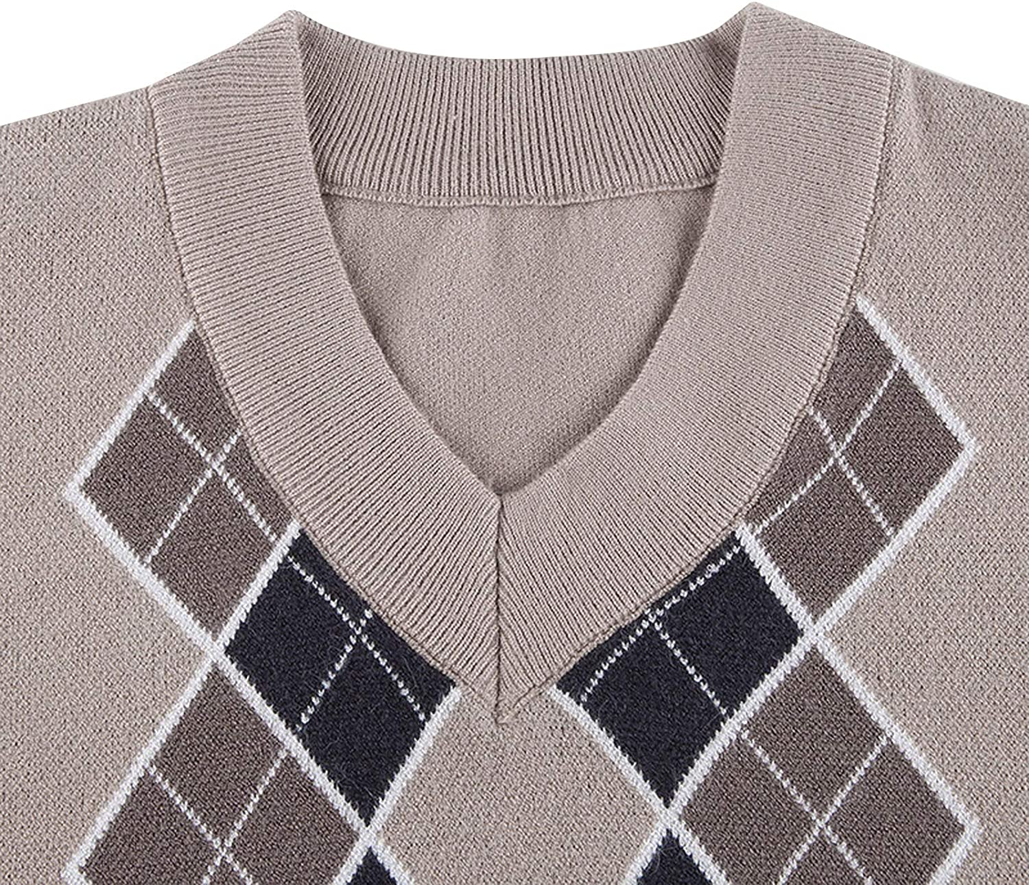 Meihuida Women Y2k Sweater Argyle Sweater Pullover Long Sleeve Flower Button Knitted Cropped Cardigan Sweaters