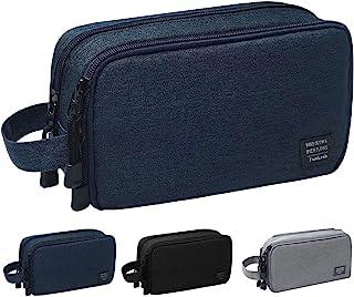 حقيبة أدوات الزينة للرجال مضادة للماء حقيبة سفر أدوات الحلاقة هدية مثالية أكسسوارات السفر, , ازرق داكن - P003