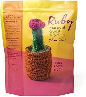 Ruby The Cactus Crochet Kit an Amigurumi DIY Craft Project with Everything Including a Hook, Pattern, Yarn, Needle and Video Instructions - Easy to Learn DIY Gift Kits