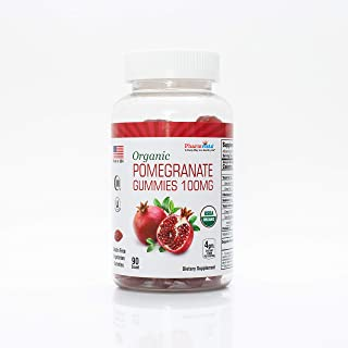 Organic Pomegranate Gummies 100mg - Gluten Free, Fiber Rich Snack Made with Organic Pomegranate - 90 Count