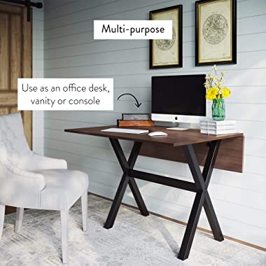 Nathan James Kalos Solid Wood Drop Leaf Folding Kitchen Farmhouse Dining Room or Space Saving Console Table and Desk, Rustic,