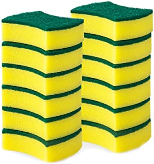 12 Pack Heavy Duty Scrub Sponge, Non-Scratch Super Absorbent Cleaning Kitchen Sponges, Sponge Scourers Multi-Use Dual-Side...