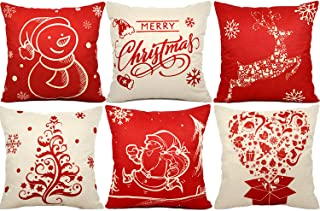 FLY2SKY 6PC Christmas Pillow Covers 18 x 18 Christmas Decorations Cotton Linen Christmas Throw Pillows Covers Decorative Throw Pillow Case Cushion Covers Sofa Living Room Home Décor Xmas Gifts