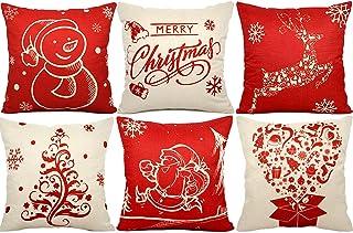 FLY2SKY 6PC Christmas Pillow Covers 18 x 18 Christmas Decorations Cotton Linen Christmas Throw Pillows Covers Decorative Throw Pillow Case Cushion Covers Sofa Living Room Home Décor Xmas Gifts