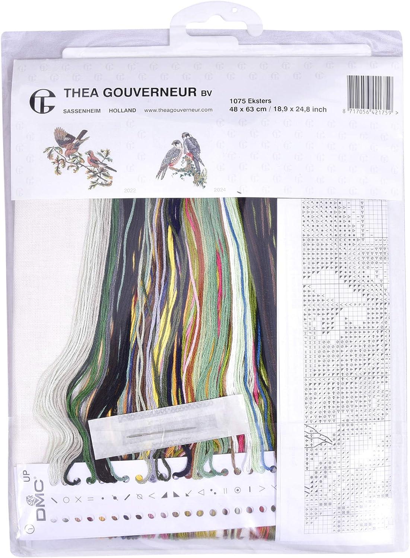 1075 60cm x 70cm Ekster Vorsortierte DMC-Garne DIY Kit Thea Gouverneur Leinen Gez/ählter Kreuzstich Kit