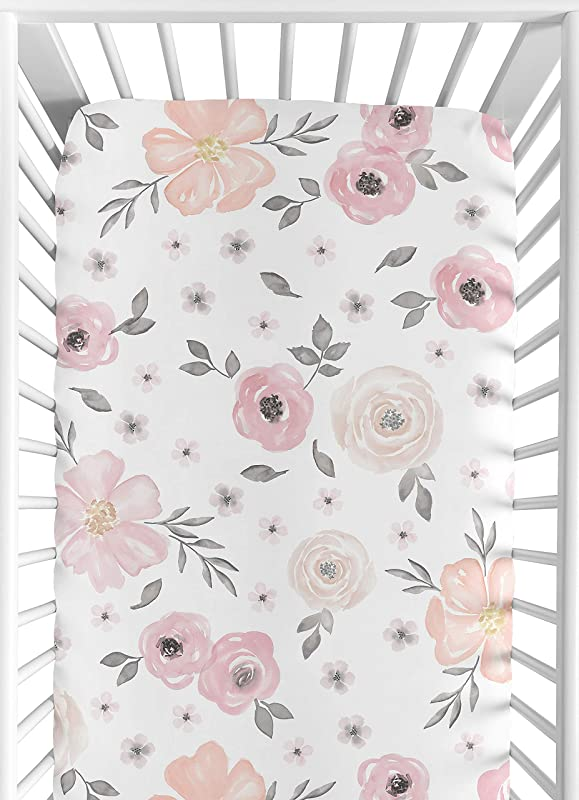 Sweet Jojo Designs Blush Pink Grey And White Baby Or Toddler Fitted Crib Sheet For Watercolor Floral Collection