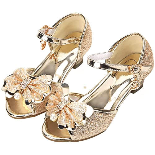 fc0bb3e6d75f3 FKKFYY Low Heel Sandals for Girls Light Gold Toddler Wedding Dress Shoes  Size 11 Princess Sequin
