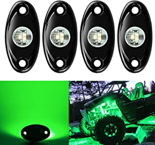 4 Pods LED Rock Lights, Ampper Waterproof LED Neon Underglow Light for Car Truck ATV UTV SUV Jeep Offroad Boat Underbody Glow Trail Rig Lamp (Green)