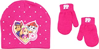 Nickelodeon Paw Patrol Toddler Girls Beanie Hat and Mittens Set (Hot Pink Stars)
