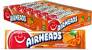 Airheads Candy, Individually Wrapped Full Size Bars for Halloween, Orange, Bulk Taffy, Non Melting, Party, 0.55 Ounce (Pac...