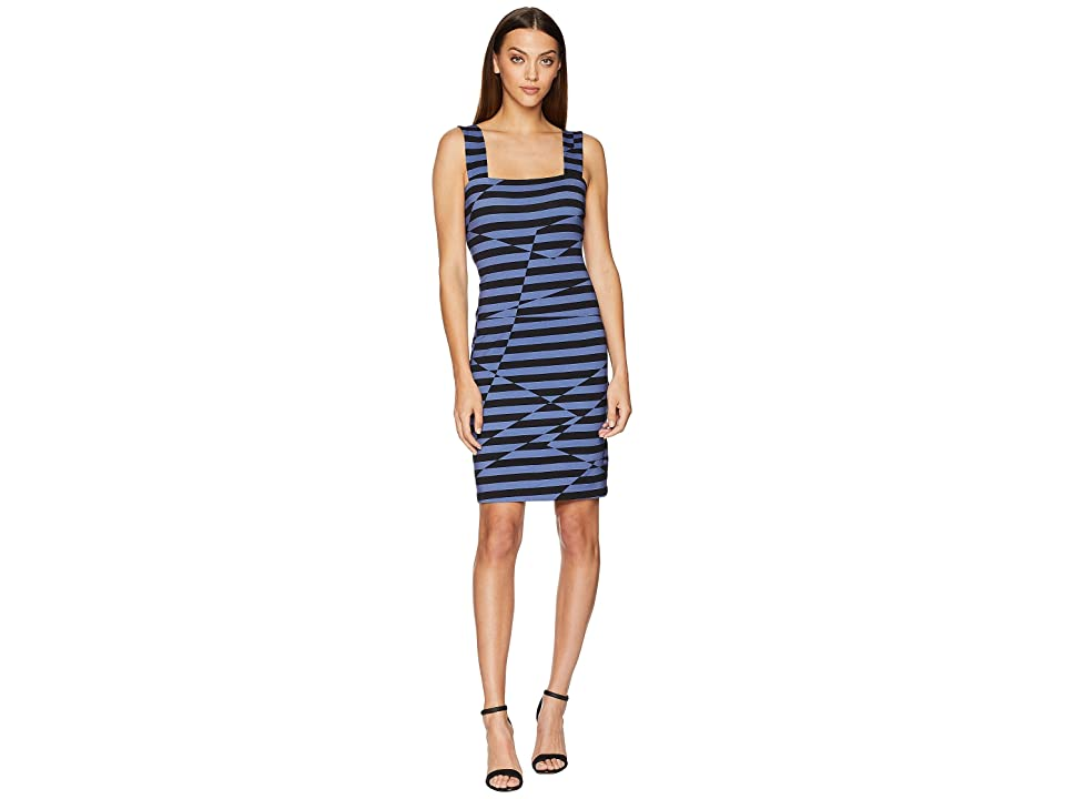 Nicole Miller Lace-Up Dress (Black/Blue) Women