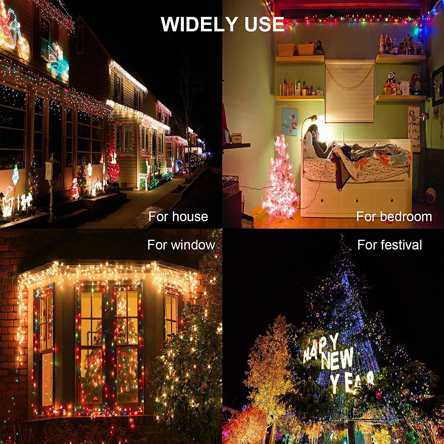 Multicolor FANSIR LED Fairy Lights Plug in 200 LED String Lights Mains Powered Copper Wire Lights 8 Modes Waterproof Lights Indoor Outdoor Lights for Party Wedding Bedroom Christmas Decorations