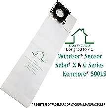 Casa Vacuums Replacement for Windsor Sensor, Versamatic Plus, Sebo G X, Kenmore W ALLERGEN Filtration Commercial Upright Vacuum Bags, Fits 5300 86000500 5096Am 6629AM 6629ER 6431ER 50015