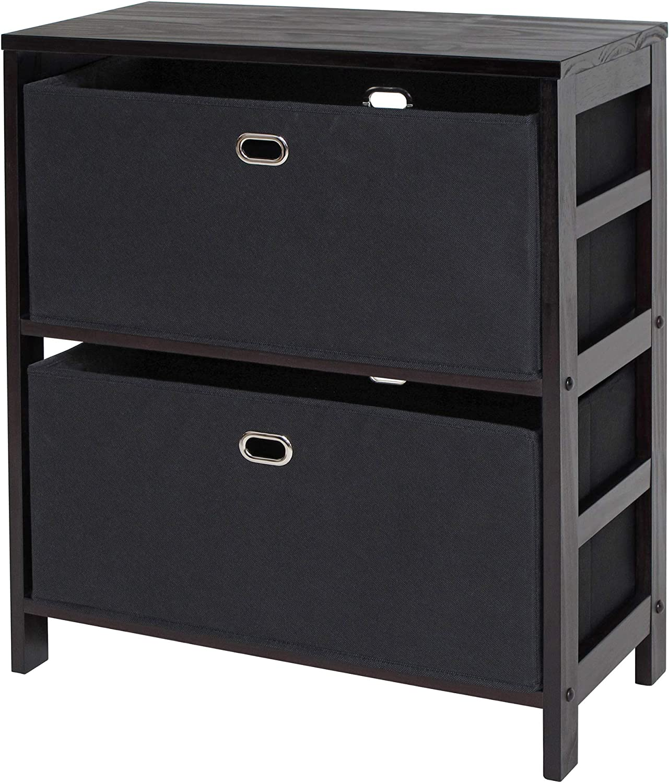 Winsome Wood Torino 3-PC Set Storage Shelf w Black Fabric Baskets