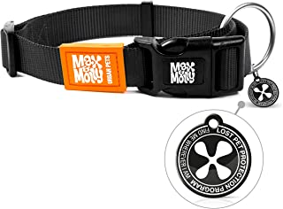 Max & Molly Pure Black Smart Id Collar  Comfortable   Odor Free Neoprene  Smart Id Tag   Lost Pet Protection Program   Ext...