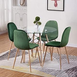 GOLDFAN Table de Salle à Manger avec 4 Chaises Bois Ronde Table en Verre avec 4 Vert Velours Chaises Scandinave pour Cuisi...