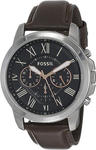 FOSSIL Homme Chronographe Quartz Montre avec Bracelet en Cuir FS4813