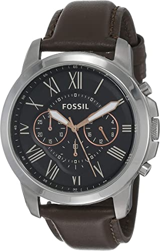 Amazon.com: Fossil Men's Grant Quartz Stainless Steel and Leather Chronograph  Watch, Color: Silver, Brown (Model: FS4813IE) : Fossil: Clothing, Shoes &  Jewelry
