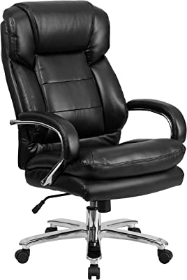 Flash Furniture Big & Tall Office Chair | Black Leather Swivel Executive Desk Chair with Wheels