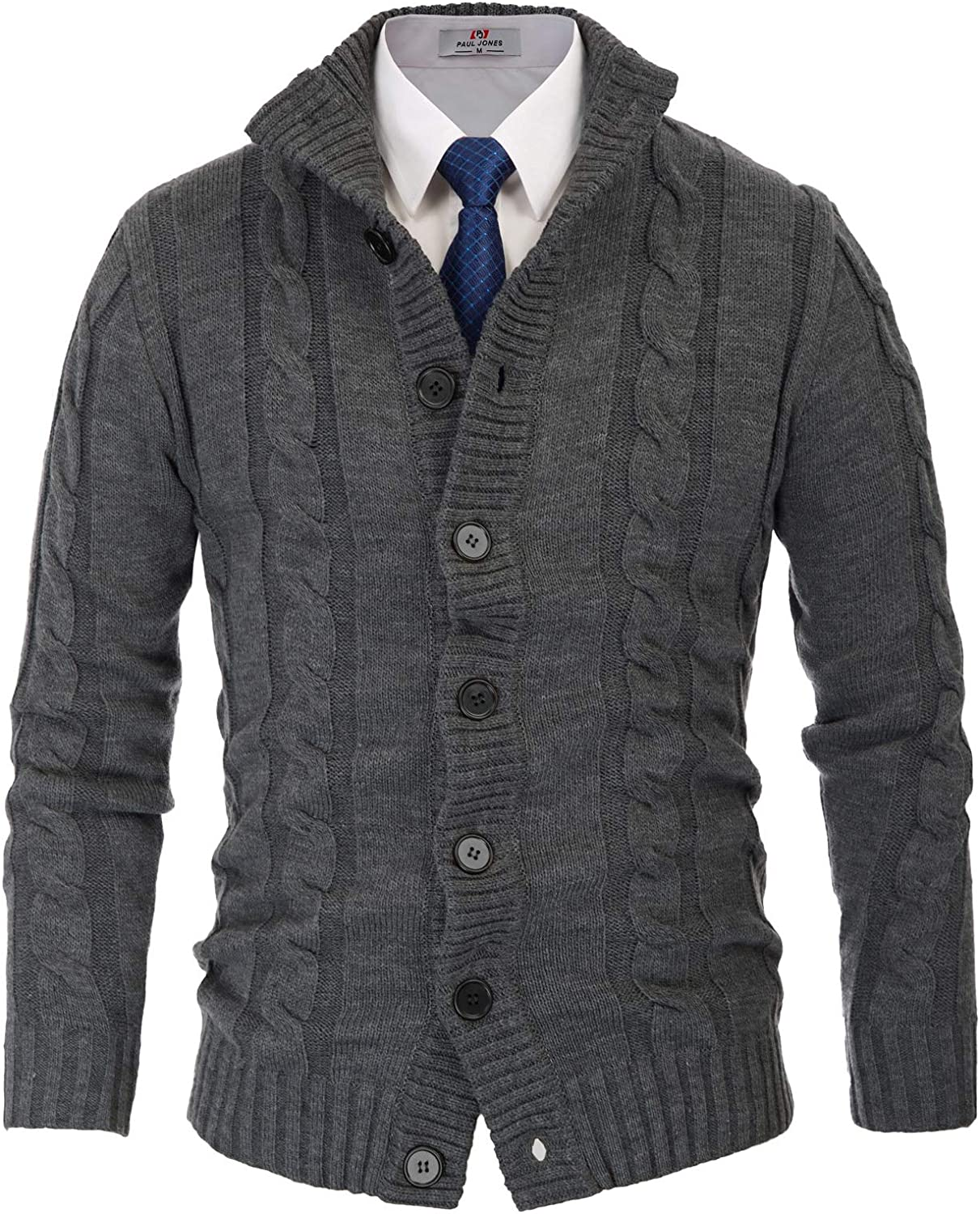 High material PJ PAUL JONES Men's Cardigan Beauty products Sweaters Knitted Cable Collar Stand