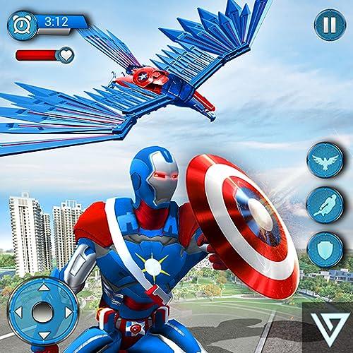 Super Hero Fliegende Kapitän Robot American City War