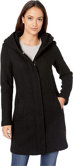Shawl Hood Textured Wool Coat