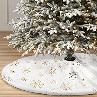 yuboo Christmas Tree Skirt, 50 inches Large White&Gold Luxury Faux Fur with Snowflakes Tree Skirt for Xmas Ornaments